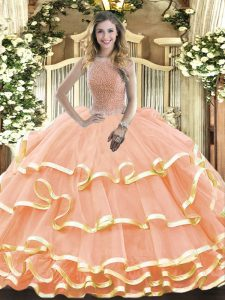 New Arrival High-neck Sleeveless 15th Birthday Dress Floor Length Beading and Ruffled Layers Peach Organza