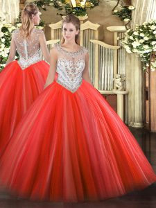 Coral Red Tulle Zipper 15 Quinceanera Dress Sleeveless Floor Length Beading