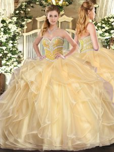 Stunning Floor Length Champagne Sweet 16 Dresses Organza Long Sleeves Beading and Ruffles