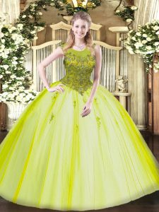 Floor Length Zipper Quinceanera Dress Yellow Green for Military Ball and Sweet 16 and Quinceanera with Beading