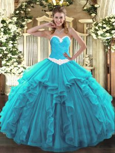 Aqua Blue Sleeveless Floor Length Appliques and Ruffles Lace Up Sweet 16 Dress