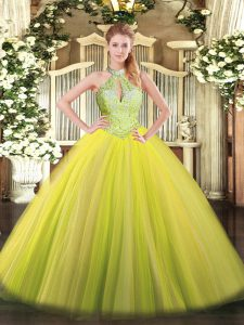 Elegant Floor Length Yellow Green Quince Ball Gowns Halter Top Sleeveless Lace Up