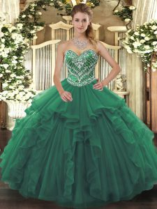 Extravagant Tulle Sweetheart Sleeveless Lace Up Beading and Ruffles 15th Birthday Dress in Green