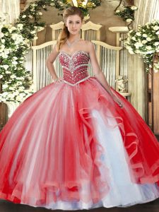 Tulle Sweetheart Sleeveless Lace Up Beading and Ruffles Quince Ball Gowns in Coral Red