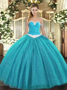 Floor Length Ball Gowns Sleeveless Teal 15th Birthday Dress Lace Up