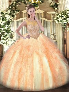 Stylish Multi-color Ball Gowns Organza Scoop Sleeveless Beading and Ruffles Floor Length Lace Up Quinceanera Dresses