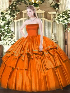 Strapless Sleeveless Zipper 15 Quinceanera Dress Orange Red Organza