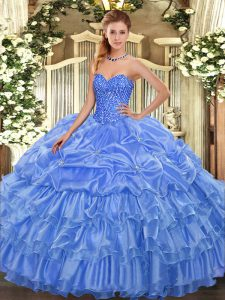 Baby Blue Sleeveless Beading and Ruffled Layers and Pick Ups Floor Length Quince Ball Gowns