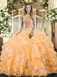 Luxury High-neck Sleeveless Lace Up Sweet 16 Dress Orange Organza