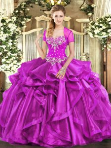 Fuchsia Organza Lace Up Quinceanera Dresses Sleeveless Floor Length Beading and Ruffles
