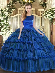 Colorful Royal Blue Sleeveless Ruffled Layers Floor Length Sweet 16 Dresses