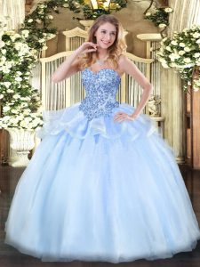 Wonderful Organza Sweetheart Sleeveless Lace Up Appliques Quinceanera Gown in Light Blue