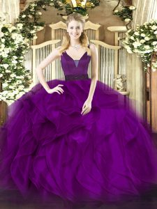 Attractive Purple Ball Gowns Organza Straps Sleeveless Beading and Ruffles Floor Length Zipper Ball Gown Prom Dress