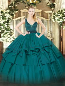 Sleeveless Floor Length Beading and Ruffled Layers Zipper Sweet 16 Dresses with Teal