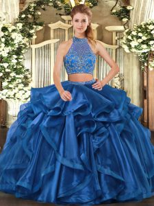 Blue Organza Criss Cross Vestidos de Quinceanera Sleeveless Floor Length Beading and Ruffled Layers