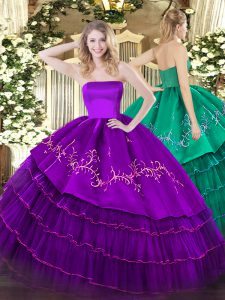 Admirable Strapless Sleeveless Organza and Taffeta 15th Birthday Dress Embroidery and Ruffled Layers Zipper
