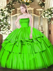 Attractive Sweet 16 Dress Military Ball and Sweet 16 and Quinceanera with Ruffled Layers Strapless Sleeveless Zipper