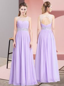 Luxurious Lavender Chiffon Lace Up Scoop Sleeveless Floor Length Prom Evening Gown Beading