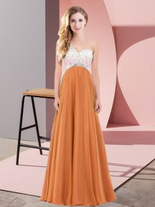 Hot Sale Orange Red Chiffon Criss Cross Sleeveless Floor Length Beading