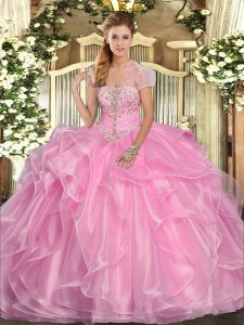Popular Organza Sleeveless Floor Length Quinceanera Dress and Appliques and Ruffles
