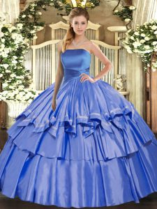 Strapless Sleeveless Lace Up Quince Ball Gowns Blue Organza