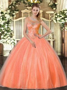 Exceptional Orange Red Scoop Neckline Beading Quinceanera Gown Sleeveless Lace Up