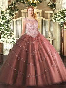 Brown Scoop Zipper Beading and Appliques Quinceanera Dresses Sleeveless