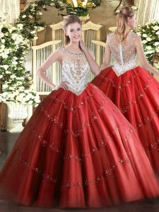 Floor Length Red Sweet 16 Dress Scoop Sleeveless Zipper