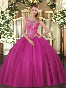 Fuchsia Sleeveless Beading Floor Length Sweet 16 Dress