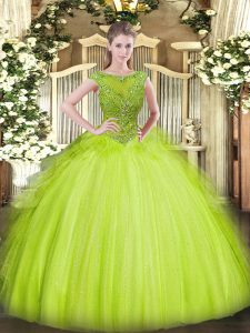 Simple Floor Length Yellow Green Quince Ball Gowns Scoop Sleeveless Zipper