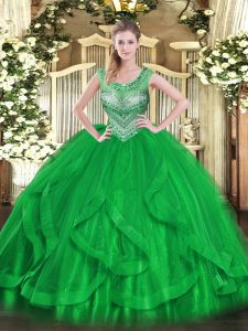 Adorable Green Lace Up Scoop Beading and Ruffles 15 Quinceanera Dress Tulle Sleeveless