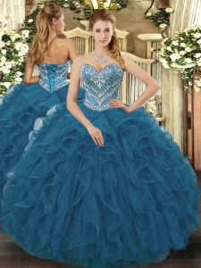 Elegant Teal Ball Gowns Tulle Sweetheart Sleeveless Beading and Ruffled Layers Floor Length Lace Up Vestidos de Quinceanera
