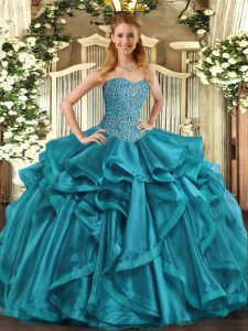 Fancy Teal Sleeveless Organza Lace Up Sweet 16 Quinceanera Dress for Military Ball and Sweet 16 and Quinceanera