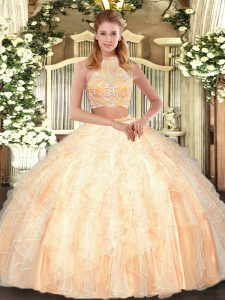 Captivating Peach Tulle Criss Cross Quinceanera Gowns Sleeveless Floor Length Beading and Ruffles