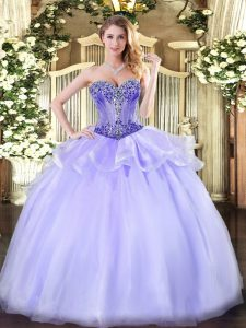 Colorful Lavender Lace Up Quinceanera Gown Beading Sleeveless Floor Length