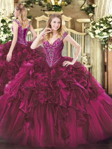 Smart Floor Length Fuchsia Vestidos de Quinceanera V-neck Sleeveless Lace Up