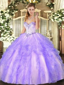 Lavender Sleeveless Beading and Ruffles Floor Length Sweet 16 Dresses