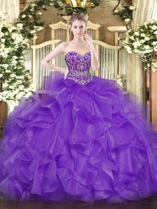 Shining Lavender Sleeveless Beading and Ruffles Floor Length Quinceanera Dress