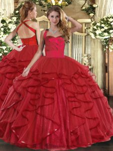 Attractive Wine Red Tulle Lace Up Quinceanera Dresses Sleeveless Floor Length Ruffles