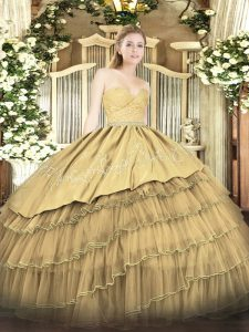 Floor Length Gold Ball Gown Prom Dress Organza and Taffeta Sleeveless Beading and Lace and Embroidery and Ruffled Layers