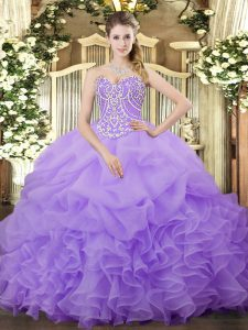 Sweetheart Sleeveless Lace Up Quince Ball Gowns Lilac Organza