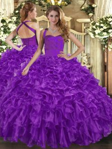 Exquisite Purple Ball Gowns Organza Halter Top Sleeveless Ruffles Floor Length Lace Up Quinceanera Dresses