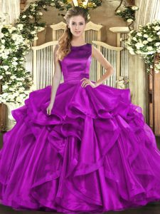 Deluxe Scoop Sleeveless Lace Up Sweet 16 Quinceanera Dress Purple Organza