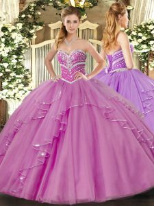 Popular Sleeveless Lace Up Floor Length Beading and Ruffles Quinceanera Gown