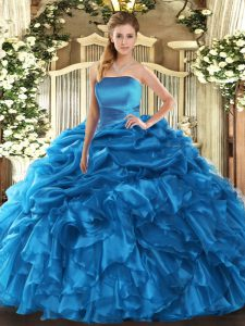 Fashion Blue Strapless Neckline Ruffles and Pick Ups Quince Ball Gowns Sleeveless Lace Up