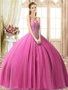 Beading Quinceanera Dresses Fuchsia Lace Up Sleeveless Floor Length