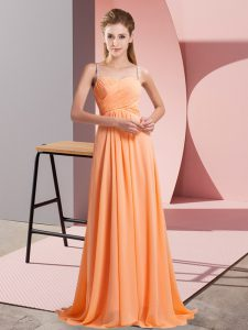 Traditional Orange Red Empire Spaghetti Straps Sleeveless Chiffon Floor Length Backless Beading Prom Party Dress