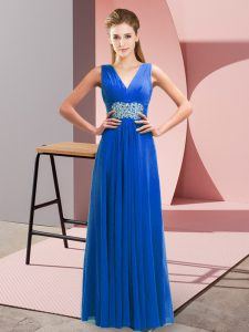 Free and Easy Blue Sleeveless Beading and Ruching Floor Length Dress for Prom