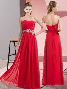 Sweet Red Empire Chiffon Strapless Sleeveless Beading Floor Length Lace Up Evening Dress
