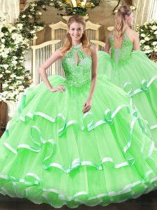 Sexy Sleeveless Beading and Ruffles Lace Up Quinceanera Gown